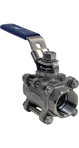 Flow+ 3-Piece Stainless Steel Ball Valves 1000 WOG Threaded NPT Image