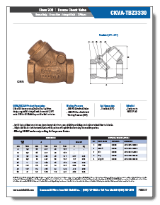 NCI Bronze Swing Check Valves Class 300 Threaded NPT Brochure