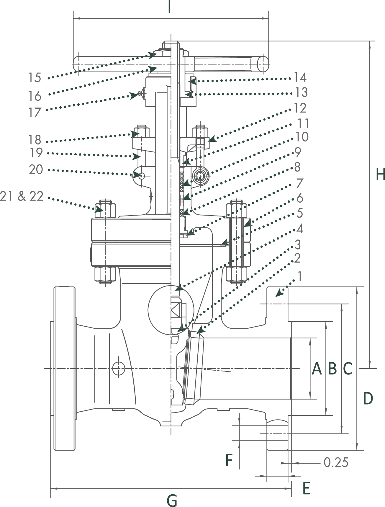 Sharpe Carbon Steel Gate Valves Class 600 Technical Drawing