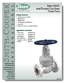 Sharpe Carbon Steel Globe Valves Class 600 Brochure