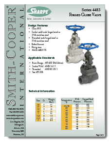Sharpe Carbon Steel Globe Valves Class 800 Threaded NPT or Socket Weld Brochure