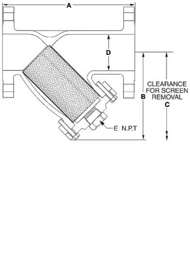 SSI Stainless Steel Y-Strainers Class 300 Flange, NPT or Socket Weld Technical Drawing